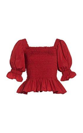 Mackenzie Smocked Taffeta Top by Molly Goddard | Moda Operandi