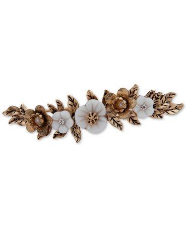 lonna & lilly Gold-Tone Crystal & Imitation Pearl Flower Hair Clip