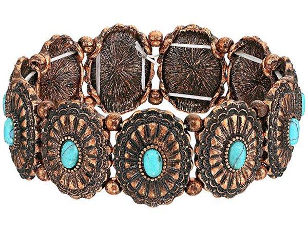 M&F Western Western Concho Turquoise Bracelet