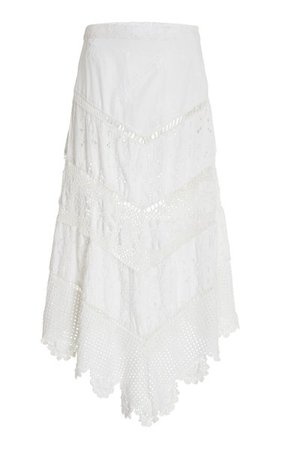 Garcelle Cotton Broderie Anglaise Midi Skirt By Loveshackfancy