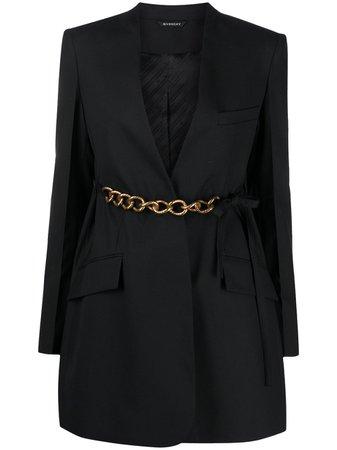Givenchy belted chain blazer jacket black BW30CE12JF - Farfetch