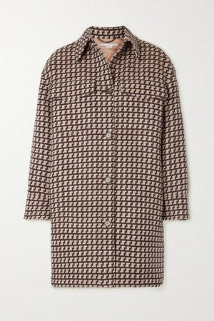 Kerry Oversized Wool-jacquard Coat - Brown