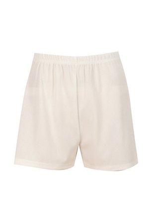 Rib Shorts | boohoo white