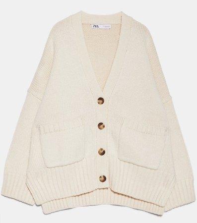 Zara cream oversized cardigan