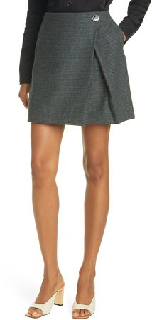 Bordeaux Check Wool Blend Skirt