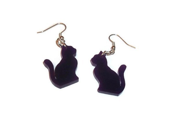 Cat Dangle Earrings Cute Kawaii Purple Laser Cut Kitty Quirky | Etsy