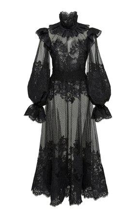 Ruffled Flocked Tulle Maxi Dress by Zimmermann | Moda Operandi