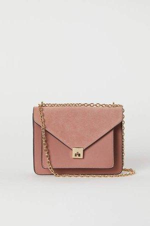 Shoulder Bag with Suede Detail - Pink