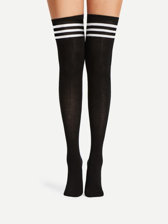 Striped Over The Knee Socks 2pairs | SHEIN