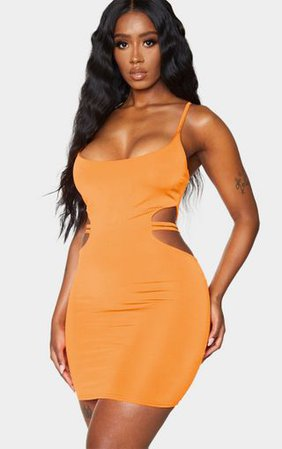 Shape Orange Slinky Strap Side Bodycon Dress | PrettyLittleThing