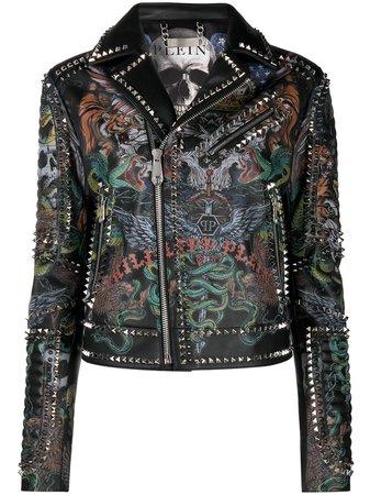 Philipp Plein Tattoo-print Biker Jacket - Farfetch