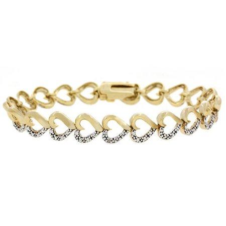 Gold/Silver Heart Bangle Bracelet