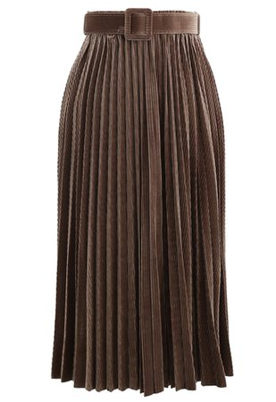 Chic Wish Belted Velvet Full Pleated Midi Skirt in Caramel - Retro, Indie and Unique Fashion