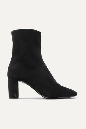 Black Lou suede ankle boots | SAINT LAURENT | NET-A-PORTER