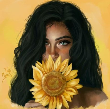 Art by tati moons yellow girl with dark skin green eyes and black short hair holding a sunflower realistic  pretty yellow backround