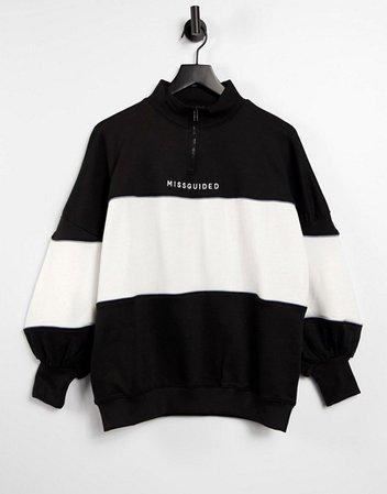 Missguided oversized sweatshirt with zip in color block   ASOS