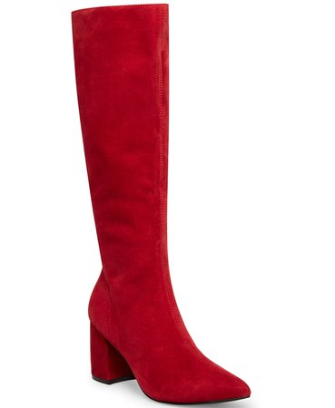 Red Suede Steve Madden Women's Nieve Block-Heel Boots & Reviews - Boots - Shoes - Macy's