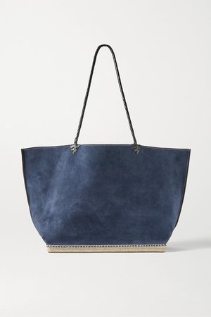 Espadrille Large Leather And Jute-trimmed Suede Tote - Storm blue