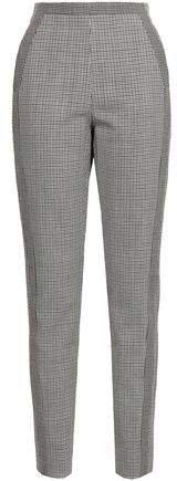 Houndstooth Wool Slim-leg Pants