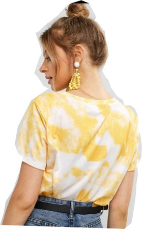 Yellow Tie Dye With Back Of Model Cutout