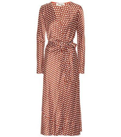 Polka-dot silk wrap dress