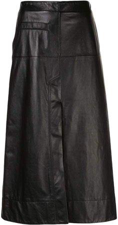 leather high-waisted midi skirt