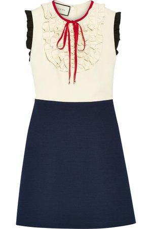 Gucci | Ruffle-trimmed silk and wool-blend mini dress | NET-A-PORTER.COM