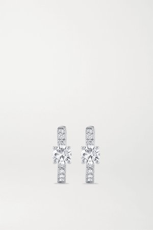 White gold Huggies 18-karat white gold diamond hoop earrings | Anita Ko | NET-A-PORTER