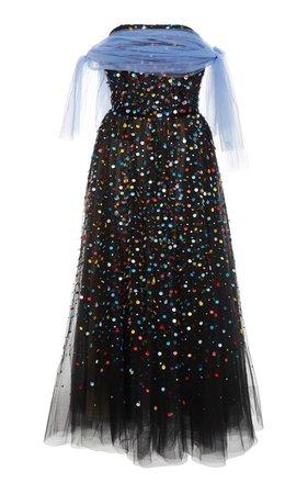 Carolina Herrera | Embroidered Strapless Dress