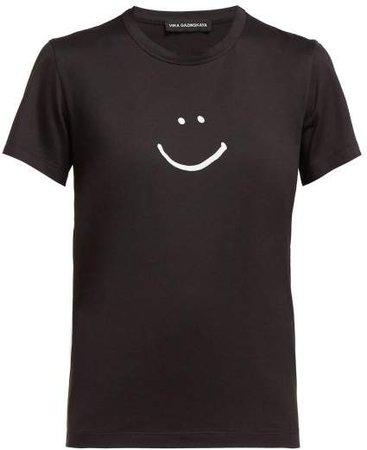 Smiley Face Print Cotton Jersey T Shirt - Womens - Black White