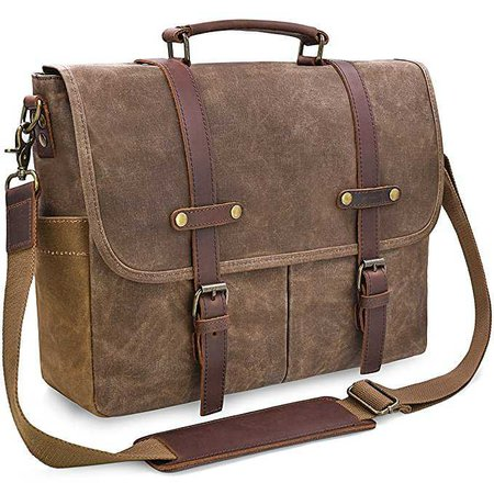 Amazon.com: Mens Messenger Bag 15.6 Inch Waterproof Vintage Genuine Leather Waxed Canvas Briefcase Large Satchel Shoulder Bag Rugged Leather Computer Laptop Bag, Brown: Electronics