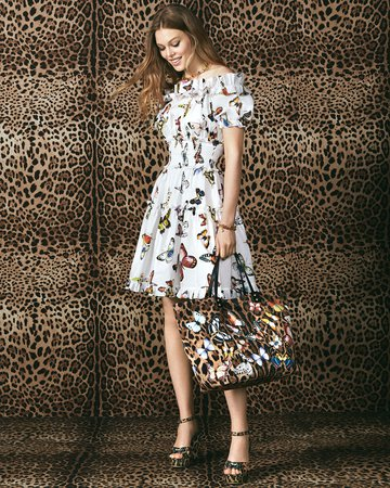 Dolce & Gabbana Off-the-Shoulder Butterfly-Print Poplin Dress | Neiman Marcus