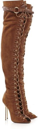 brown lace knee boots shoes