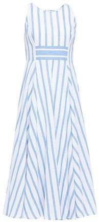 Flared Striped Cotton And Linen-blend Midi Dress