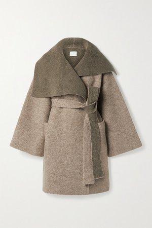 Belted Knitted Coat - Mushroom