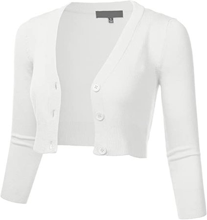 FLORIA Women Solid Button Down 3/4 Sleeve Cropped Bolero Cardigan Sweater White XL at Amazon Women's Clothing store