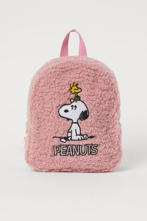 Faux Shearling Backpack - Pink