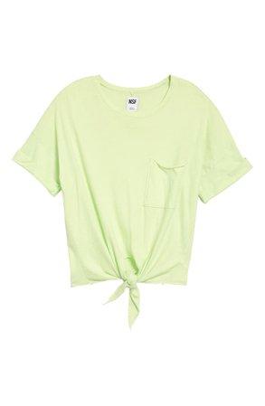 NSF Clothing Arlene Front Tie Crop Pocket T-Shirt   Nordstrom