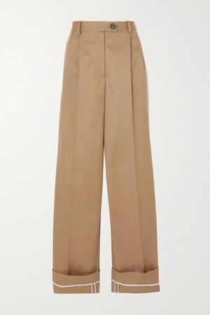 Pleated Cotton-twill Wide-leg Pants - Beige