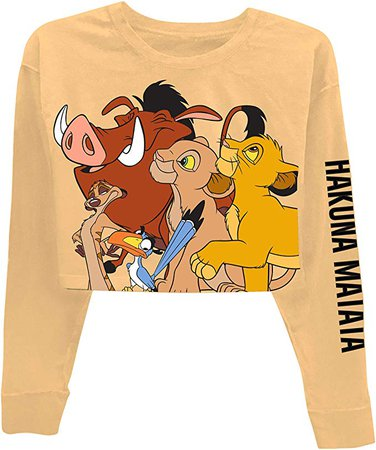 Amazon.com: Disney Ladies Lion King Fashion Top - Ladies Classic Hakuna Matata Clothing Lion King Long Sleeve Crop Tee (Oatmeal, X-Small): Clothing