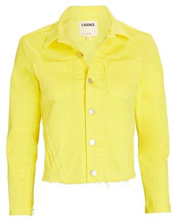 L'Agence Janelle Cropped Denim Jacket   INTERMIX®
