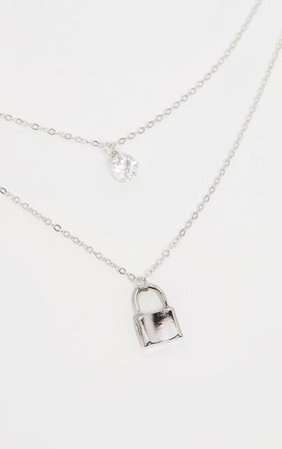 Silverpadlock And Diamante Layering Necklace   PrettyLittleThing