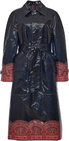Etro Printed Hem Coated Cotton Trench Coat
