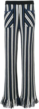 striped tassel trousers