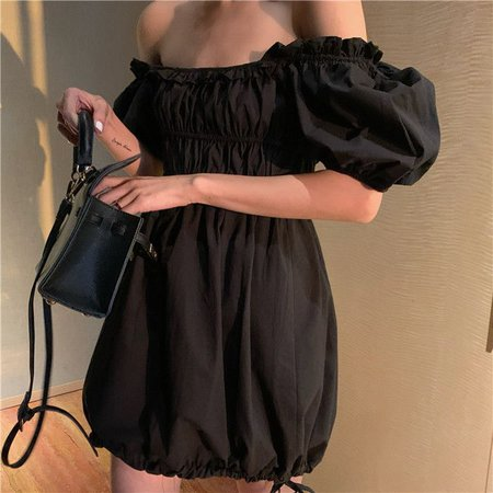 Zepto Puff-Sleeve Plain A-Line Dress | YesStyle