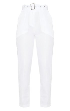 White Belted Tailored Trouser | Trousers | PrettyLittleThing USA