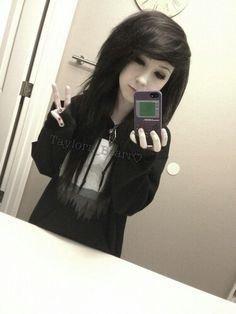 emo thick black hair