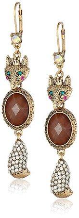 "Betsey Johnson ""Woodland"" Fox Drop Earrings: Clothing"