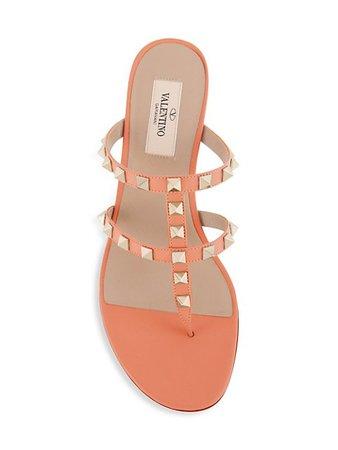 Valentino Garavani Rockstud Leather Thong Sandals | SaksFifthAvenue