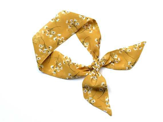 Yellow Floral Mini Skinny Scarf Hair Head Wrap Ponytail Tote
